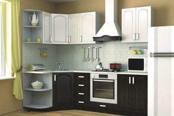 Кухня 14 (тик, белый металлик)